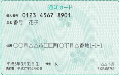 マイナンバー・通知カード(見本)