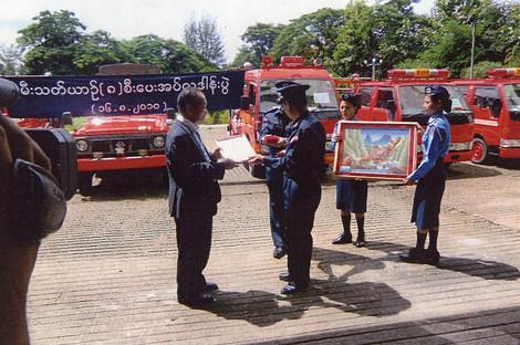ヤンゴン市 消防本部にて