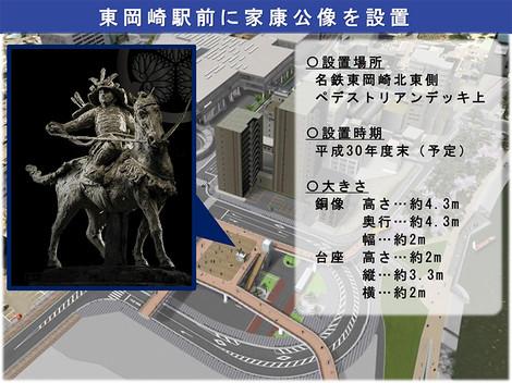 東岡崎駅前に家康公像を設置
