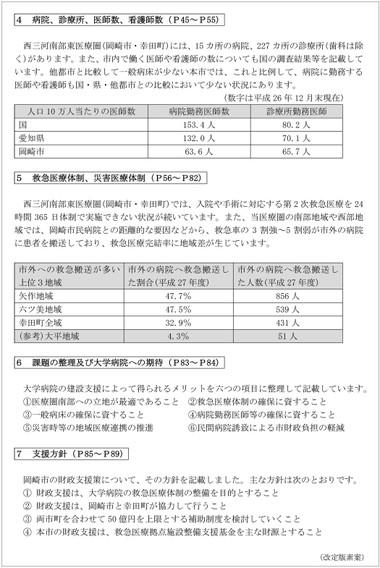 大学病院の建設に関する支援方針(改訂版素案)の概要