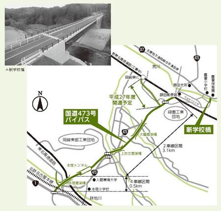 国道473号バイパスと市道原下衣線(新学校橋)