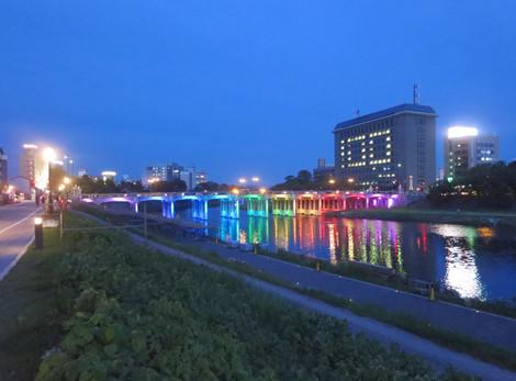 殿橋と明代橋のライトアップ(2016年7月1日)