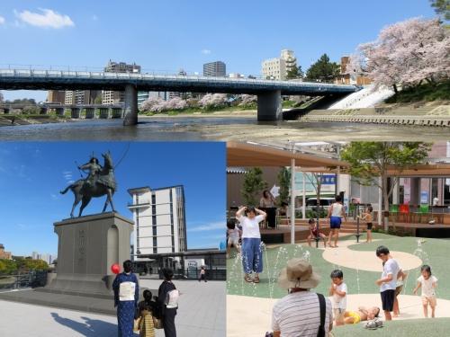 桜城橋、徳川家康公像、籠田公園